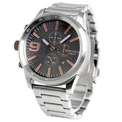 DIESEL DZ4457 手錶 47mm Rasp Chronograph 三眼計時 黑色面盤 玫瑰金刻度 鋼錶帶 男正品