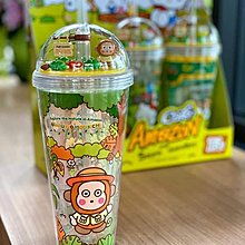 泰國限定Amazon Cafe x Sanrio Monkichi馬騮仔限量小花園俠管水杯