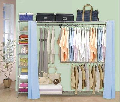 巴塞隆納家具─雙層雙桿伸縮衣櫥(附34公分收納櫃)