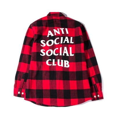 YZY台灣|AntiSocial Social Club EXPECTIONS FLANNEL 襯衫 紅印 RED