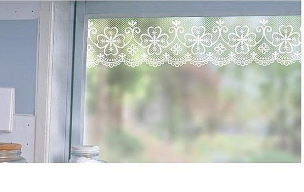 小妮子的家@韓國進口鐵藝蕾絲玻璃.鏡面.瓷磚防曬防水透明腰線.玻璃貼膜LB-07