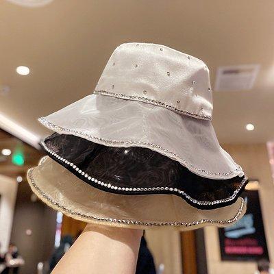 漁夫帽 盆帽-水鑽鑲邊網紗大帽簷女帽子3色73xu22[獨家進口][米蘭精品]