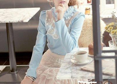 東京著衣【YOCO】荷葉立領拼透膚蕾絲上衣~藍色