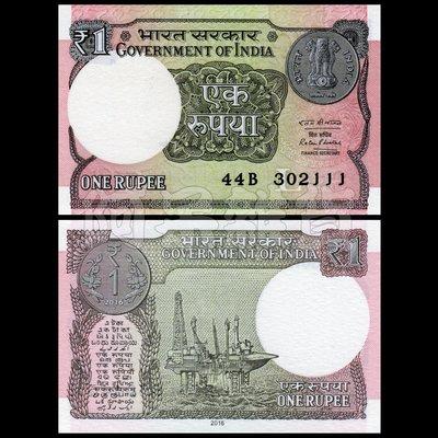 森羅本舖 現貨 實拍 印度 1 盧比 2016年 小票幅 全新 無折 真鈔 民主 甘地 新德里 孟買 紙鈔
