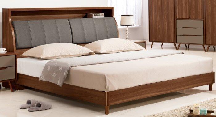 【DH】貨號VC349-5名稱《蘭米》5尺床頭式床台組圖一) 備有六呎可選。貓抓皮/附插座。六分木心板床板。主要地區免運