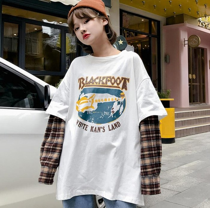 長版上衣 長袖T恤 韓版中長款原宿風寬松字母格子假兩件上衣 長袖套頭衛衣 外套—莎芭