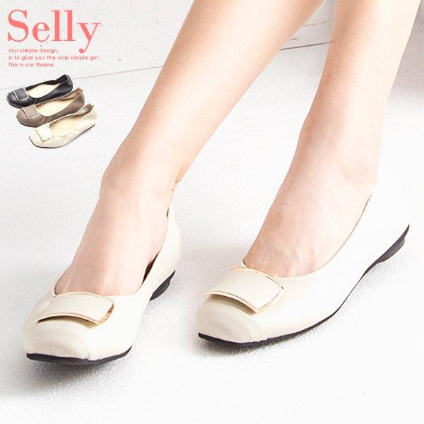 Selly outlet MIT系列-方頭飾釦牛皮娃娃鞋(MIT151) 米白36號 NG267