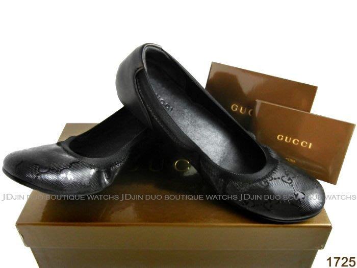 金鐸精品~1725 GUCCI 古馳 雙G-LOGO壓紋黑色漆皮 娃娃鞋