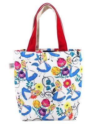 【卡漫迷】 愛莉絲 帆布 手提袋 花朵 ㊣版 外出包 萬用袋 餐袋 便當袋 手提包 愛麗絲 夢遊仙境 Alice