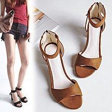 【菲兒生活館】大尺碼女鞋 2020新款百搭歐美時尚舒適絨皮流蘇一字帶中跟涼鞋~3色