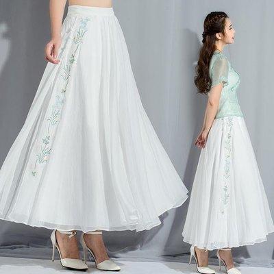 夏季民族風文藝復古繡花雪紡半身裙長裙唐裝漢服大擺裙仙女裙