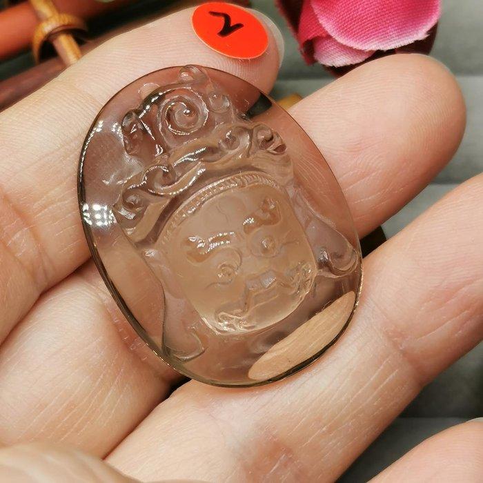 黃財神  高檔天然 茶水晶 項鍊墜 雕工精緻  ◎結緣價1280◎二姐的店W265-2