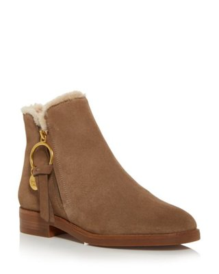 See by Chloé Women's Louise Shearling Low Heel Booties9/26止