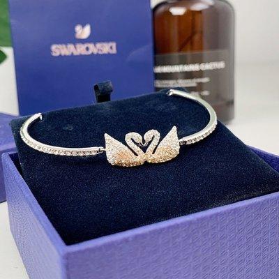 Swarovski 施華洛世奇FACET SWAN 新款漸變雙天鵝時尚鏤空天鵝氣質百搭手鍊女生手環手鐲