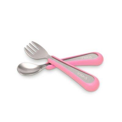 【現貨】QB選物 ❤ VIIDA ❤  抗菌不鏽鋼叉匙組-甜心粉
