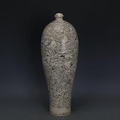 ㊣姥姥的寶藏㊣ 唐代白地全手工絞胎瓷梅瓶  文物出土古瓷器古玩古董收藏擺件