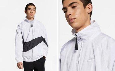 [飛董] NIKE NSW JACKET 大勾勾 拼接 風衣 立領 運動外套 男裝 AR3133-100 黑白