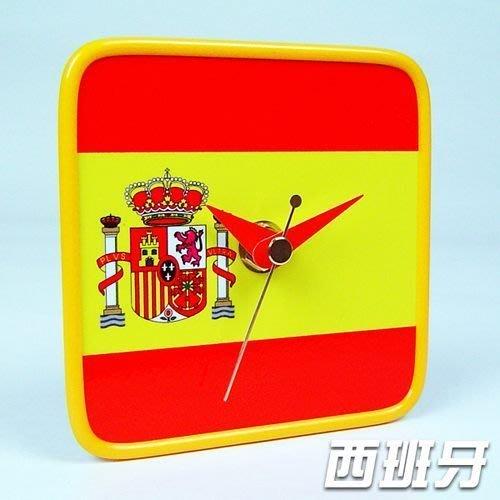 【衝浪小胖】西班牙國旗/膠框桌鐘/掛鐘/機芯/指針/Spain/各國家款式都有賣/手工製造
