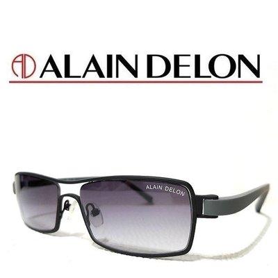 《黑伯爵眼鏡精品》ALAIN DELON 舒適超輕量 TITANIUM 霧鐵灰鈦金屬 黑色塑鋼鏡腳 太陽眼鏡