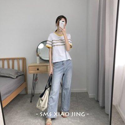 拼撞色織帶,簡約卻洋氣!春夏薄款修身圓領短袖女T恤短款針織衫