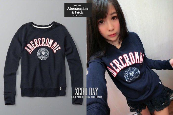 【零時差】A&F Abercrombie&Fitch Logo Graphic Crew Sweatshirt大學T深藍