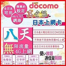 *日本好好玩 超商免運費*真-無限 8天 不降速&無限速 吃到飽 日本上網卡 送行李秤 DOCOMO 日本 網卡