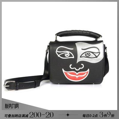 韓風專櫃飾品BLACKHEAD黑頭/設計潮牌時尚設計小丑貼花圖案黑色牛皮單肩包男女