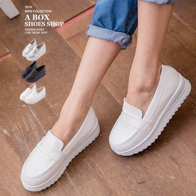 格子舖*【KI680】零碼35 MIT台灣製 簡約皮革金屬 4.5CM厚底增高鬆糕休閒鞋 小白鞋 護士鞋 2色出清