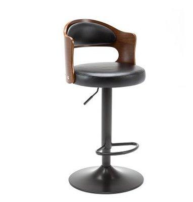 『格倫雅』吧臺椅實木北歐現代簡約復古靠背升降旋轉高腳凳前臺收銀酒吧椅子^29806