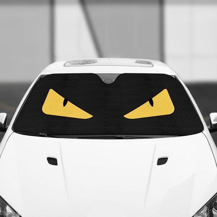 汽車遮陽板小眼睛怪獸車內前擋風玻璃遮陽罩防曬隔熱檔光遮陽板(1整組)_☆找好物FINDGOODS☆
