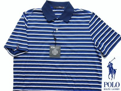 Ralph Lauren RLX 短袖 POLO 衫 涼感散熱運動功能衣 GOLF高爾夫 藍色橫紋 L XL【以靡賣場】