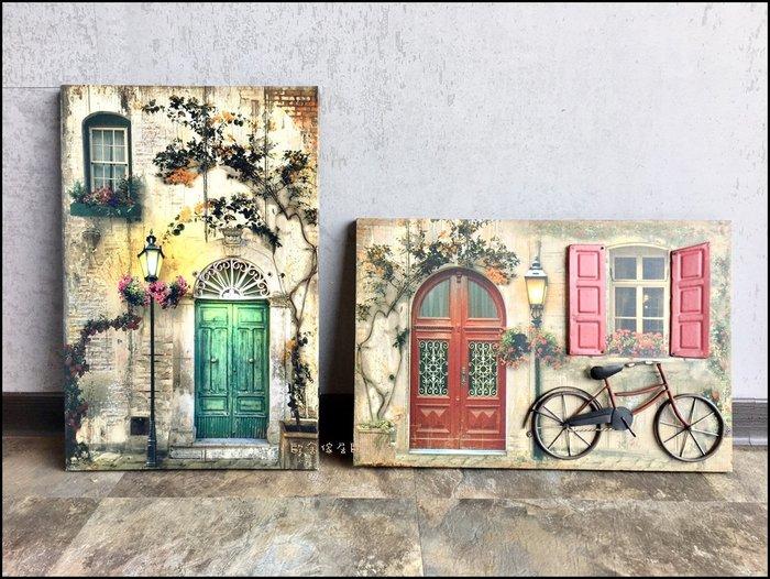 立體無框畫 綠色拱門腳踏車歐洲街景圖掛畫複製畫 40*60花草圖房子壁畫壁飾蓋變電箱總電源箱牆面居家佈置【歐舍傢居】