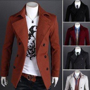 yes99buy加盟-2014秋冬새로운 韓味個性純色雙排扣時尚休閒男式毛呢子風衣 外套