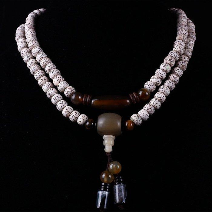 海南星月菩提子正月高密順白原籽108顆佛珠手鏈情侶款菩提籽