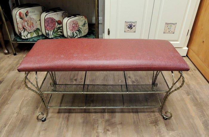 鍛鐵長方椅 鍛鐵板條椅 長椅凳 書報收納椅 穿鞋椅 軟墊長板凳  紅皮、黃皮兩款可選