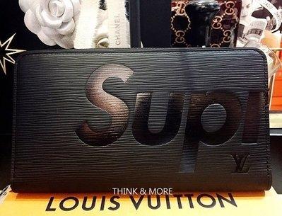 Louis Vuitton 專櫃 真品 LV X Supreme 黑色Epi水波紋 拉鍊事務長夾【全新72000含運費】