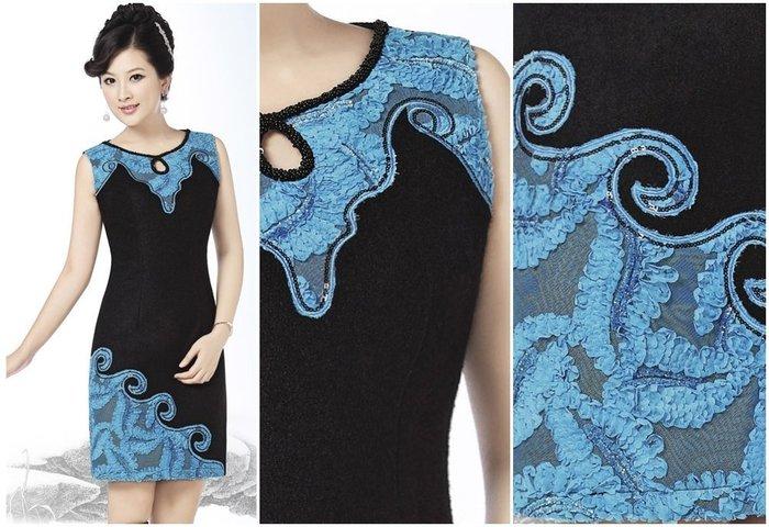 !!((中國藍Anewei))手工穿珠黑毛泥改良式旗袍~M打樣品~單穿內搭兩相宜 免郵