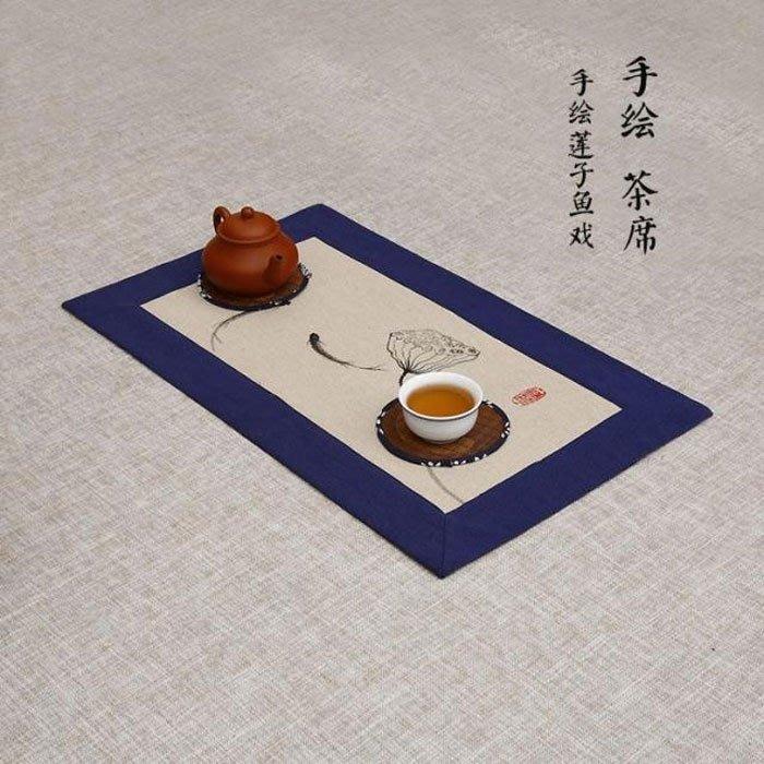 5Cgo【茗道】含稅會員有優惠 527291617955 藏藍粗布手繪茶席麻布布藝禪意桌旗隔熱墊茶道配件功夫茶具