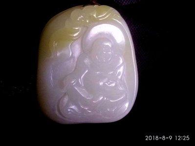 諸羅山人~~~~~ 一級白巧色籽玉雕  彌勒168公克 油潤通透