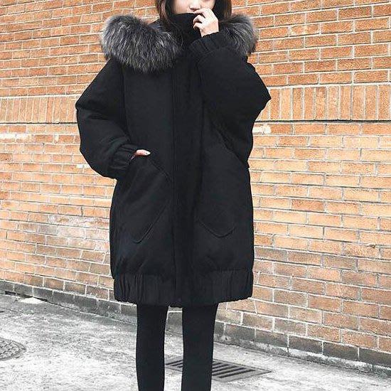 羽絨外套 超大混色毛領娃娃裝加厚長版大衣外套 艾爾莎【TAE8136】