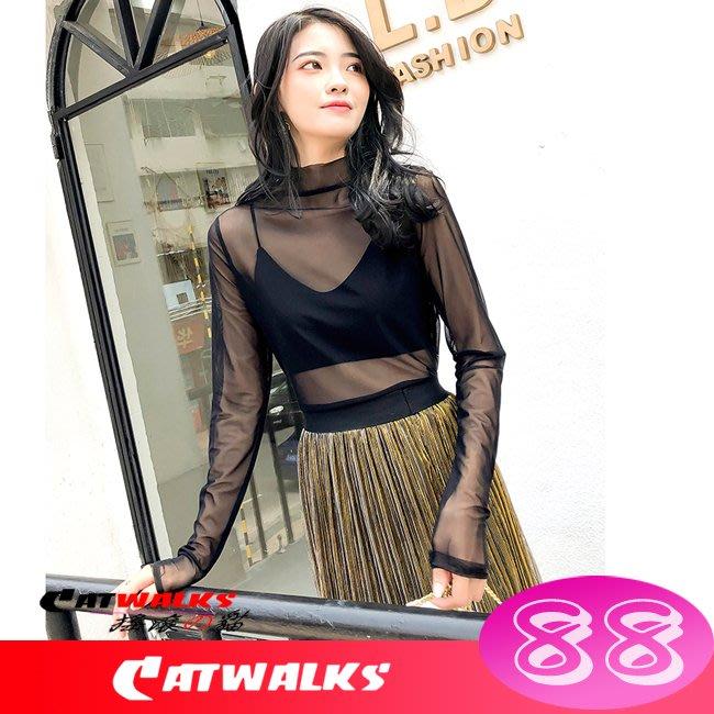 【 Catwalk's 搖滾の貓 】性感風網紗透視感長袖造型上衣