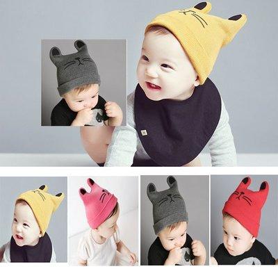 Q媽 秋冬新款男女寶寶貓耳朵護耳帽子 嬰兒童牛角套頭帽 保暖針織帽子 保暖帽 護耳帽 新北市