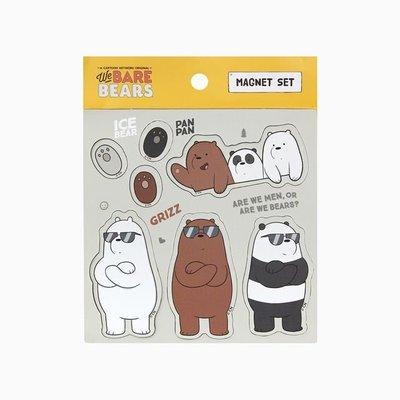 ♀高麗妹♀韓國 We BARE BEARS《熊熊遇見你》MAGNET SET 磁鐵套組7入/冰箱.辦公室屏風(現貨)