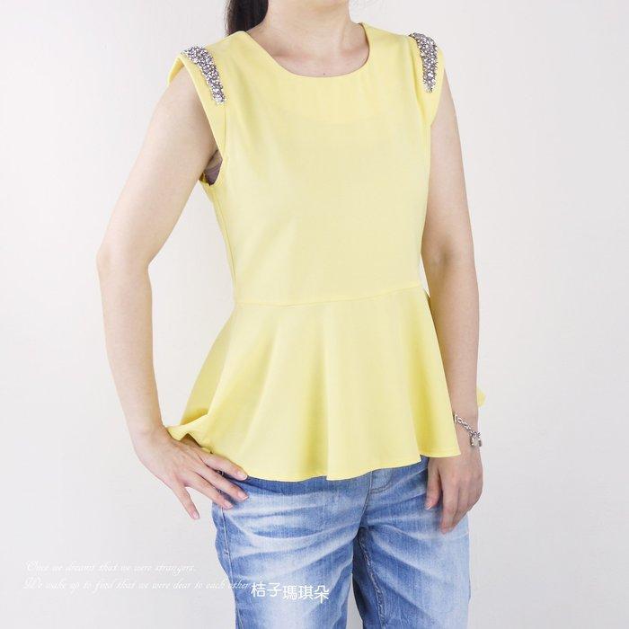 正韓 韓國連線 雙肩寶石裝飾 收腰滑布上衣(黃、黑)~桔子瑪琪朵。惠衣