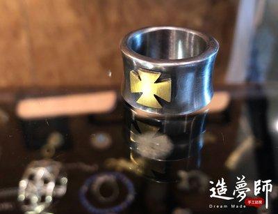 造夢師 手工訂製【Stop Light 高山隆】【復刻】復古做舊 黃銅十字架 925純銀 戒指