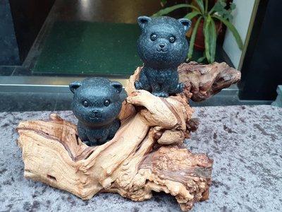 [愛玉冰]A貨天然翡翠-----墨玉磨砂面設計造型小貓擺件