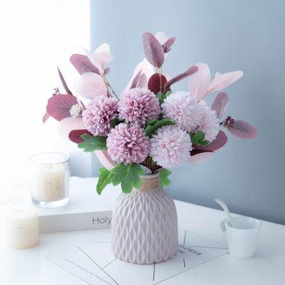 假花莫蘭迪仿真花藝輕奢淡雅粉紫色假花束套裝客廳餐桌擺件家居工藝品不凋花