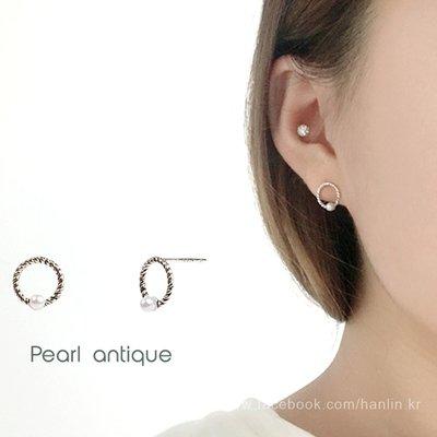 【韓Lin連線代購】韓國 GET ME BLIN- 明星同款抗敏925銀耳環 PEARL ANTIQUE
