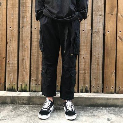 【inSAne】韓國購入 / 工裝 / 口袋 / 抽繩高磅數 / 工作褲 / 黑色 & 軍綠