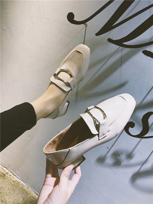 Sarah  單鞋女2018秋季新款百搭韓版方頭懶人一腳蹬樂福鞋中跟粗跟小皮鞋